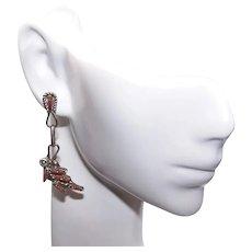 Native American Zuni Sterling Silver Petit Point Red Coral Drop Earrings - Pierced Earrings