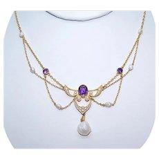 Art Nouveau 14K Gold Amethyst Natural Pearl Festoon Necklace