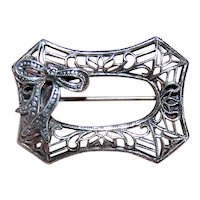 Art Deco Sterling Silver Filigree Pin with Ribbon Bow