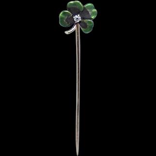 Antique Hammerman Brothers 14K Gold Diamond Enamel Stick Pin - Lucky 4 Leaf Clover