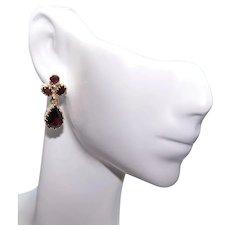 Victorian Revival 14K Gold 7CT TW Garnet Drop Earrings - Pierced Earrings   Posts with Nuts