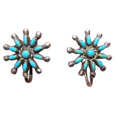 Native American Zuni Sterling Silver Petit Point Turquoise Earrings - Screwback Findings