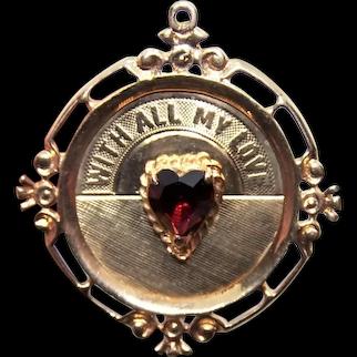 14K Gold Garnet Glass Charm - With All My Love | No Monogram