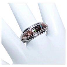 Albert Francisco Native American Navajo Sterling Silver Inlaid Stone Ring - Size 8.25