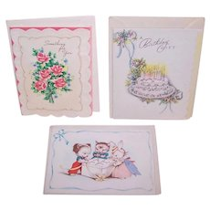 3 Vintage Unused Greeting Cards w/Envelope - Something for You, Best Wishes from the Group and A Birthday Gift | 1950s Graphics