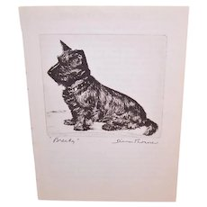 Diana Thorne Book Illustration - Brecky | Etching of Scottish Terrier