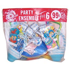 Vintage Happy Birthday Party Ensemble for 6 - Masks, Horn Blowers, Nut Cups, Ballons and Place Cards | Clown Theme