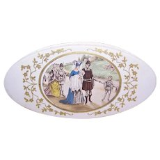 Antique Edwardian French Candy Box - Souvenir of Christening/Baptism - Medieval Family Procession Image
