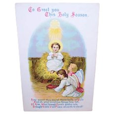 Postally Unused Christmas Postcard - Infant Jesus with Angels