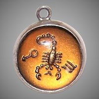 Vintage Sterling Silver Lucite Bubble Charm - Zodiac Sign Scorpio
