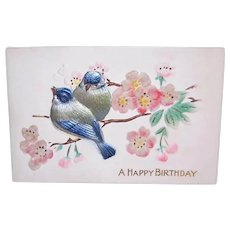 Used Flocked and Foiled Happy Birthday Postcard - Embossed Design | Sparrows and Cherry Blossoms