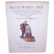 9 NC Wyeth Color Book Illustrations from Westward Ho! C.1928 Printing