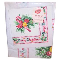 Unopened Package 5 Piece Party Set for Christmas - Paper Table Cover & 4 Napkins | Candy Cane Merry Christmas Design