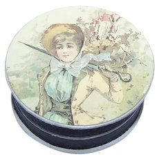Antique Edwardian Made in France French Antique Pharmacy Box | Young Lady with Umbrella