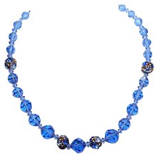 """Mid Century 26.5"""" Long Blue Crystal Necklace with Rhinestone Rondelles"""