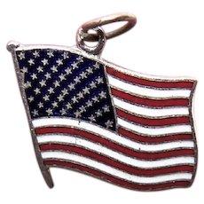 Made in Japan Souvenir Charm - Silver Tone Metal Enamel American Flag