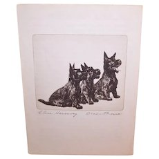 Diana Thorne Book Illustration - Close Harmony | Etching of Scottish Terriers