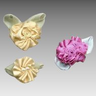 3 American Hand Made CREAM & MAUVE Silk Ribbon Floral Applique/Embellishment/Ribbonwork Rose!