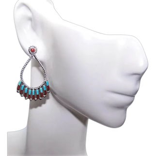Native American Zuni Sterling Silver Turquoise Coral Earrings - Drop Earrings | Posts with Nuts