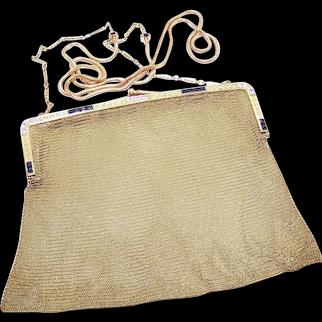 14K Gold Platinum 5.2CT TW Diamond Sapphire Mesh Purse with Shoulder Chain - Mrs Eugene V Haynes Prior Owner | Full Provenance