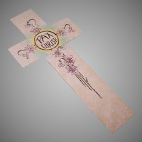 Vintage Religious Hand Painted Bookmark - PAX CHRISTI - Cross with Florals!