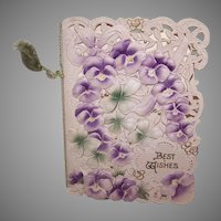 Unused ANTIQUE VICTORIAN Greeting Card - Best Wishes - Lots of Pansies!