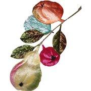 Vintage MILLINERY (Ladies Hat) Embellishment-Multi Colored Velvet Fruit Spray!