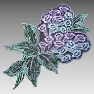 Set/3 Colorful VINTAGE Appliques - Lavender/Pale Blue Hyacinth!