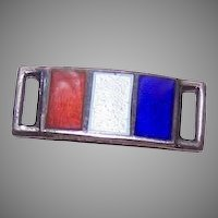 Single STERLING SILVER Link for Forget-Me-Not Bracelet - Enamel Flag for FRANCE!