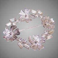 Carl Art Sterling Silver Rhinestone Filigree Wreath Pin/Brooch