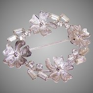 CARL-ART Sterling Silver Pin/Brooch - Filigree Floral with Clear Rhinestones!