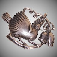 Stunning C. 1950 MEXICO SILVER Pin/Brooch - Bird on Branch!