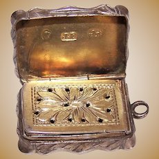 James Fenton 1852 Antique Victorian Sterling Silver Gilt Vinaigrette Fob Pendant