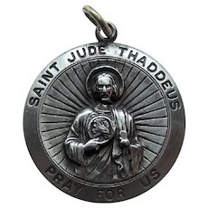 Theda Sterling Silver St Jude Religious Medal Pendant - Saint Jude Thaddeus