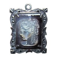 Repurpose Heaven - European 800/900 Silver Marcasite Mother of Pearl Cameo Pendant   Southern Belle Lady Profile Left