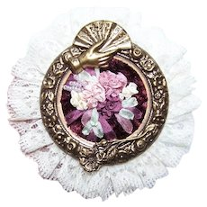 Handmade Costume Pin or Pendant - Silk Ribbon Embroidery | Hand with Fan and a Single Rose