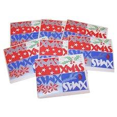7 Unused Art Deco Gummed Christmas Package Stickers - Xmas Xmas Xmas