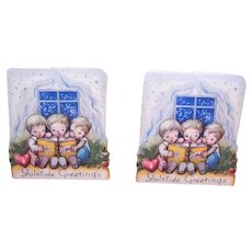 4 Unused Vintage Art Deco Gummed Christmas Package Stickers - Children Reading a Book | Yuletide Greetings