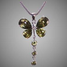 Vintage Sterling Silver Green Crystal Dragonfly Pendant