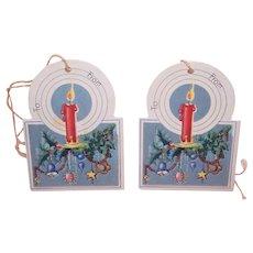 2 Art Deco Stringed Christmas Gift Tags - Candle on Christmas Tree Bough