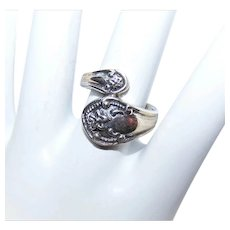 Sterling Silver Spoon Ring - Bypass Design | Floral Front - Size 6.75