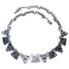 Made in Mexico Mexican Sterling Silver Abalone Link Necklace - TB-149 Registration Number