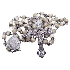 Antique Sterling Silver Mother of Pearl Rosary - Large Adult Size | Creed and CALP Findings