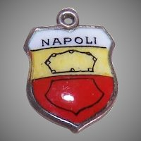 Vintage 800 Silver & Enamel Travel Shield Charm - Naples/Napoli!