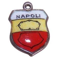 Vintage 800 Silver & Enamel Travel Shield Charm - Naples/Napoli!