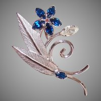 A&Z Sterling Silver Rhinestone Pin - Floral with Leaves