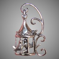 Retro Modern Lang Sterling Silver Pin Brooch   Lovebirds in a Cage