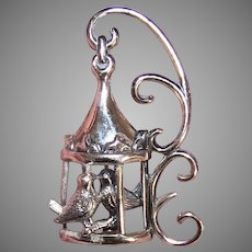 Retro Modern Lang Sterling Silver Pin Brooch | Lovebirds in a Cage