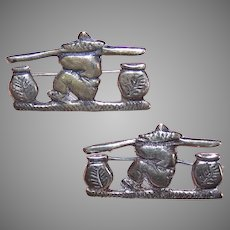 Pair Vintage Sterling Silver Pins by Sal Tills - Chinese Coolie with Baskets
