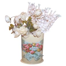 Art Deco Celluloid Toothbrush Holder - Victorian Die Cut Front | Pink & Yellow Roses for Friendship